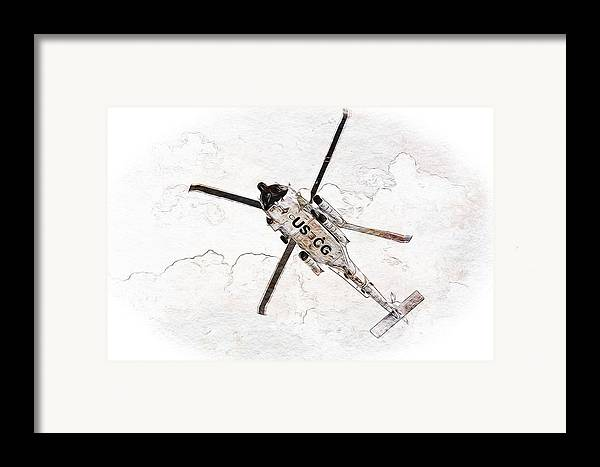 Coast Guard Framed Print featuring the photograph Coast Guard Helicopter by Aaron Berg