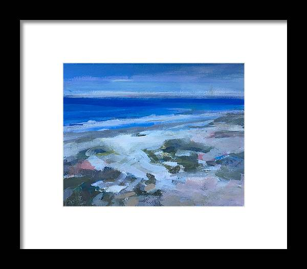 Beach Framed Print featuring the painting Coastal Blues by Janis Commentz