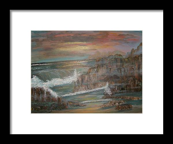 Seascape Framed Print featuring the painting Coastal Brillancy by Mikki Alhart