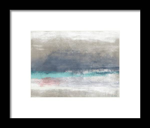 Coastal Framed Print featuring the mixed media Coastal Escape-abstract Art By Linda Woods by Linda Woods