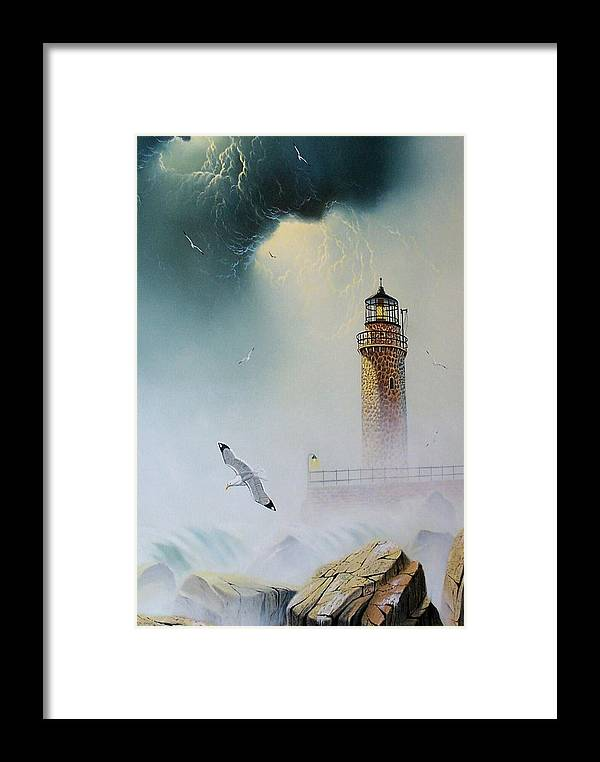Lighthouse Framed Print featuring the painting Coastal Light by Don Griffiths