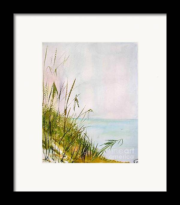 Watercolor Framed Print featuring the painting Coastal Scene by Sibby S