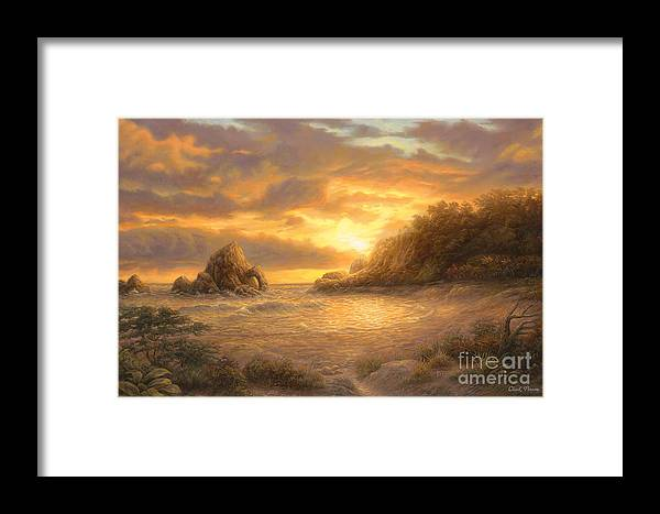 Sunset Framed Print featuring the painting Coastal Sunset by Chuck Pinson