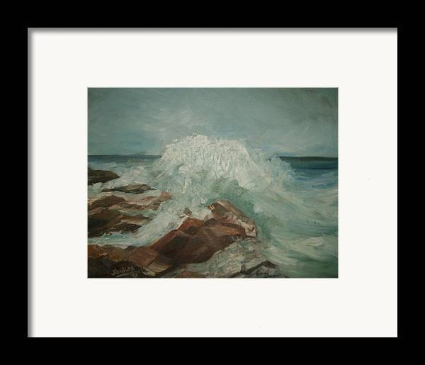 Ocean Surf Rocks Seascape Framed Print featuring the painting Coastal Waters by Joseph Sandora Jr