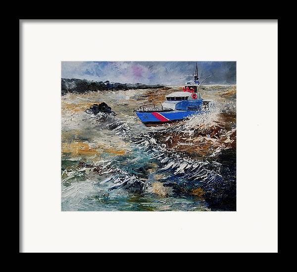 Sea Framed Print featuring the painting Coastguards by Pol Ledent