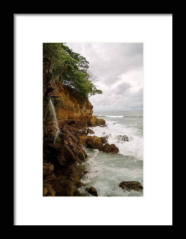 Waterfall Framed Print featuring the photograph Coastline Waterfall by Marc Levine