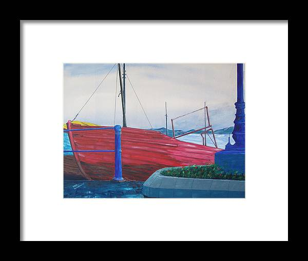 Landscape Framed Print featuring the painting Cobh Harbor Ireland by Kevin Callahan