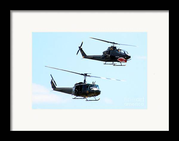 Military Framed Print featuring the photograph Cobra And Huey by Larry Keahey