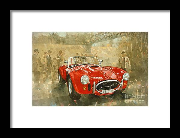 Sports Car; Race Car; Vehicle; Racing; Driver; Track; Racetrack; Race Track; Vintage; Racer; Red; Cobra; Brooklands; Old Timer Framed Print featuring the painting Cobra at Brooklands by Peter Miller