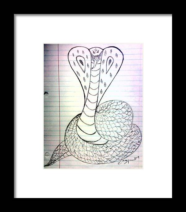 Snake Framed Print featuring the drawing Cobra by Ericka Ramos