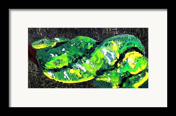 Snake Framed Print featuring the painting Cobra Verde by Jess Thorsen