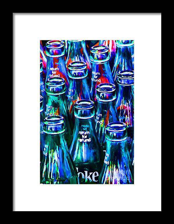 Coke Bottle Framed Print featuring the photograph Coca-cola Coke Bottles - Return For Refund - Painterly - Blue by Wingsdomain Art and Photography