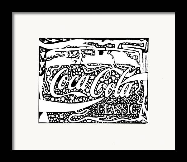 Coca Framed Print featuring the drawing Coca-cola Maze Advertisement by Yonatan Frimer Maze Artist