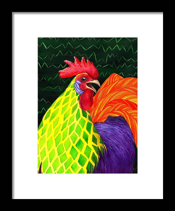 Rooster Framed Print featuring the painting Cock A Doodle Dude II by Catherine G McElroy