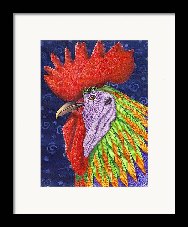 Rooster Framed Print featuring the painting Cock A Doodle Dude IIi by Catherine G McElroy
