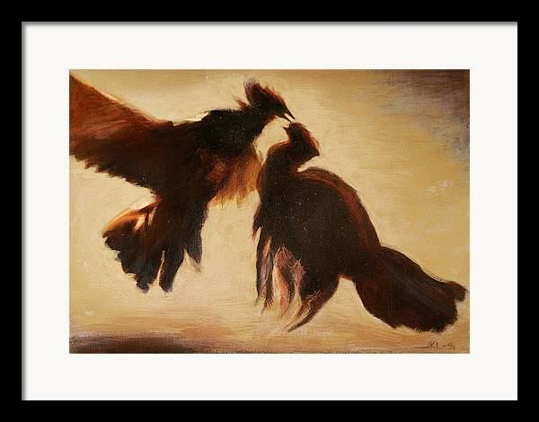 Cock Framed Print featuring the painting Cock Fight by James LeGros