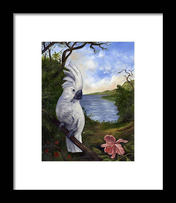 Landscape Framed Print featuring the painting Cockatoo And Orchid by Anne Kushnick
