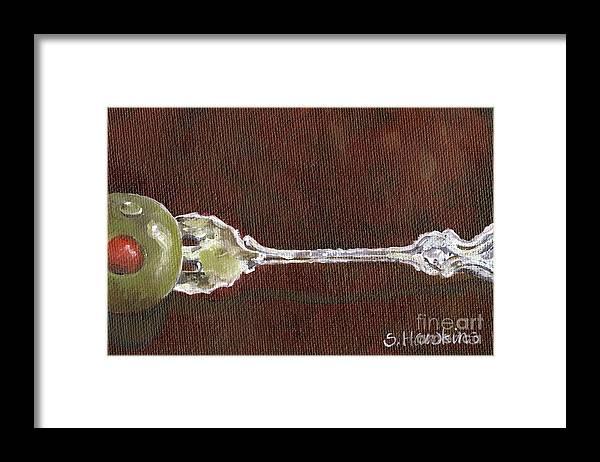 Sterling Fork Framed Print featuring the painting Cocktail Fork With Olive by Sheryl Heatherly Hawkins