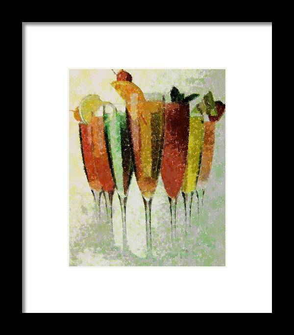 Abstract Framed Print featuring the digital art Cocktail Impression by Florene Welebny