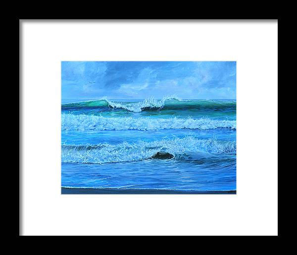 Florida Framed Print featuring the painting Cocoa Beach Surf by AnnaJo Vahle