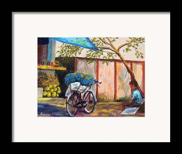 India Framed Print featuring the painting Coconut Stand by Art Nomad Sandra Hansen