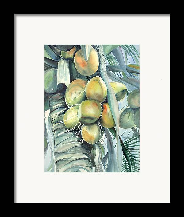 Coconut Palm Framed Print featuring the painting Coconuts by Ileana Carreno