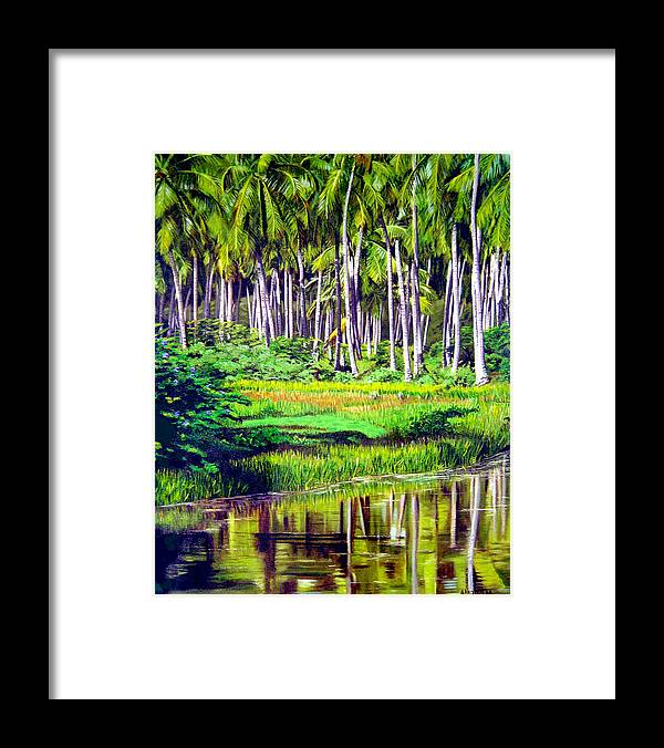 Coconuts Water River Green Art Tropical Framed Print featuring the painting Coconuts Trees by Jose Manuel Abraham