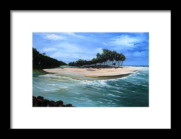 Ocean Paintings Sea Scape Paintings  Beach Paintings Palm Trees Paintings Water Paintings River Paintings  Caribbean Paintings  Tropical Paintings Trinidad And Tobago Paintings Beach Paintings Framed Print featuring the painting Cocos Bay Trinidad by Karin Dawn Kelshall- Best