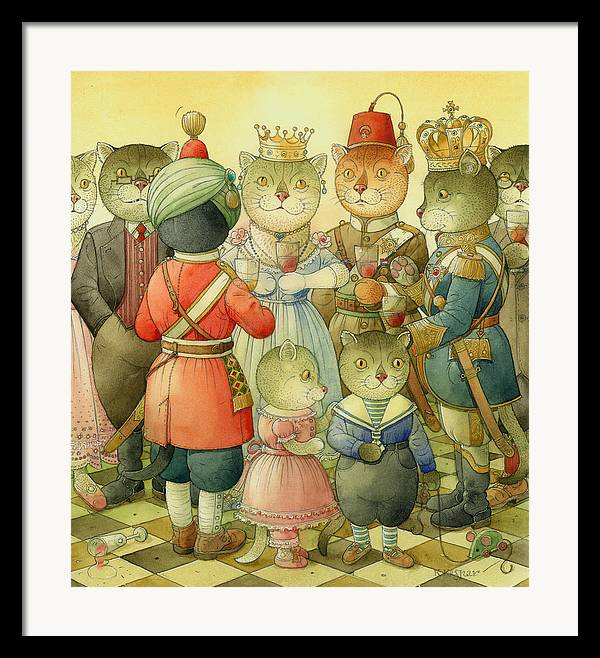 Cats Framed Print featuring the painting Coctail Party by Kestutis Kasparavicius