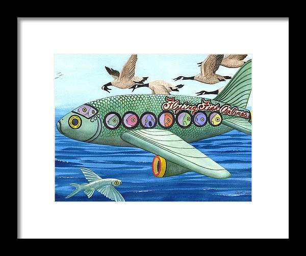 Flying Fish Framed Print featuring the painting Cod is my co-pilot by Catherine G McElroy