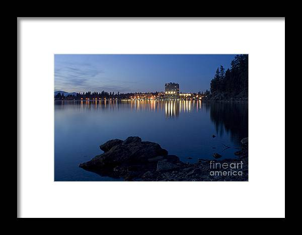 Skyline Framed Print featuring the photograph Coeur D Alene Skyline Night by Idaho Scenic Images Linda Lantzy