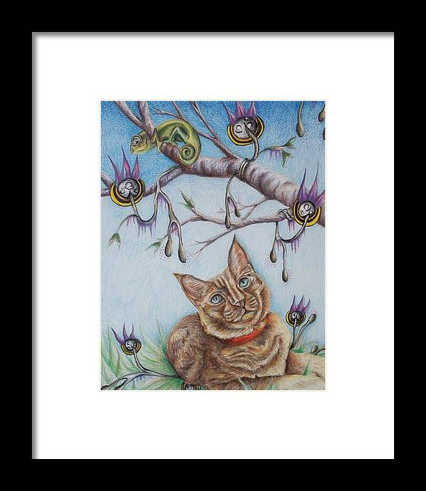 Cat Framed Print featuring the drawing Coexistance by Andrea Darlington