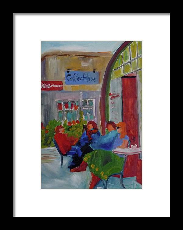 Oil Framed Print featuring the painting Coffe House by Irit Bourla