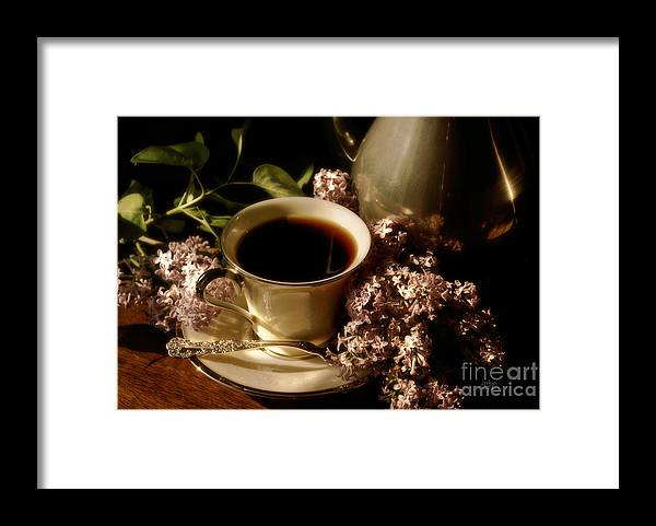 Coffee Framed Print featuring the photograph Coffee and Lilacs In The Morning by Lois Bryan