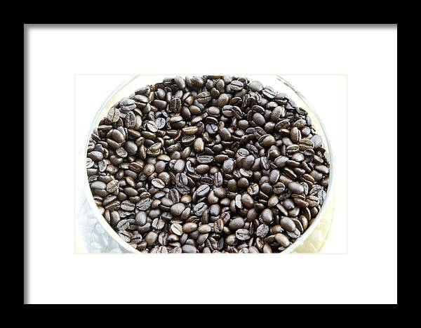 Aroma; Brazilian; Beans; Coffee Framed Print featuring the photograph Coffee Beans From Brazil by Steve Outram