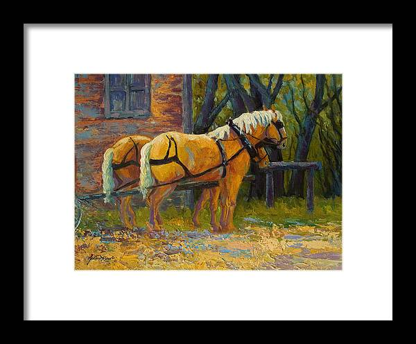 Horses Framed Print featuring the painting Coffee Break - Draft Horse Team by Marion Rose