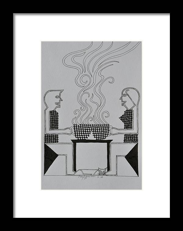 Coffee Framed Print featuring the drawing Coffee Break by Raul Agner