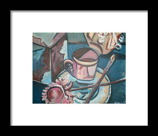 Coffee Cup Framed Print featuring the painting Coffee Cup With Brush by Aleksandra Buha