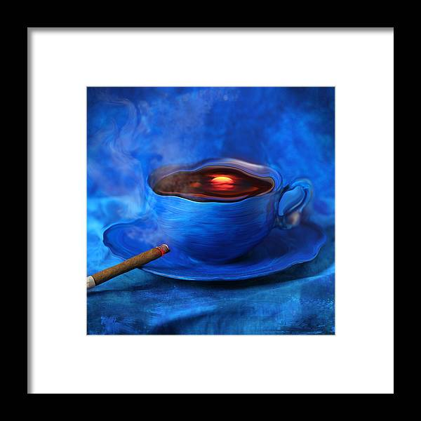 Coffee Framed Print featuring the digital art Coffee for Mister Klein by Floriana Barbu