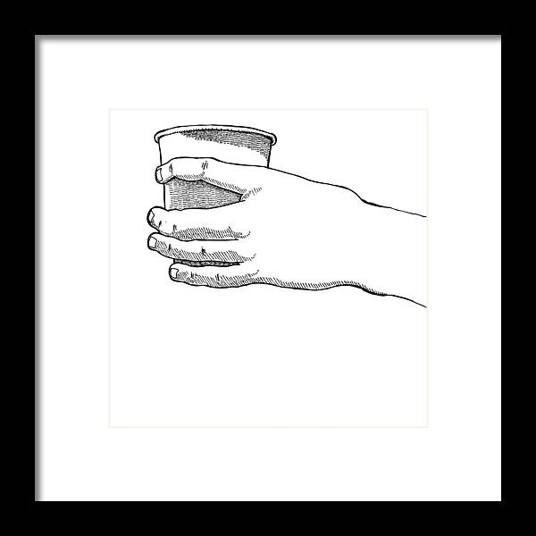 Drawing Framed Print featuring the drawing Coffee Hand by Karl Addison