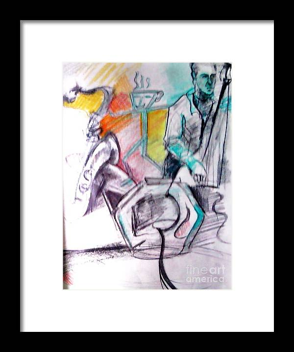 Jazz Framed Print featuring the drawing Coffee House Jazz by Jamey Balester
