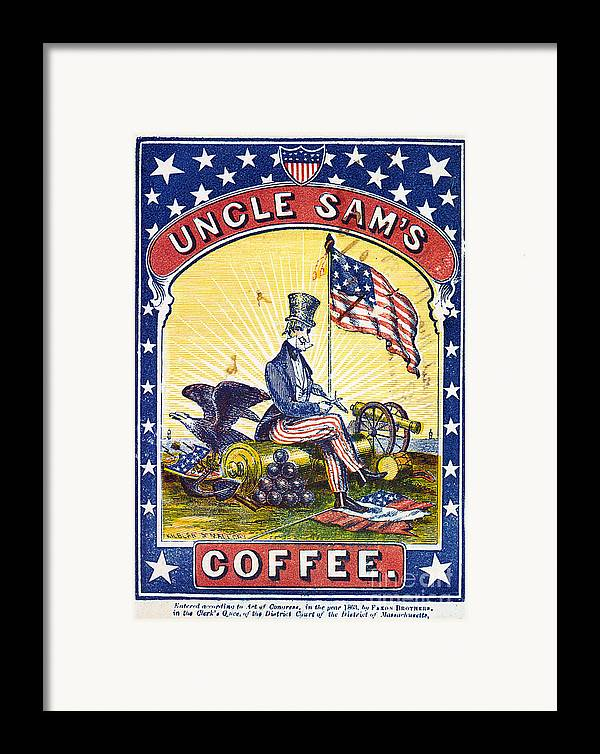 1863 Framed Print featuring the photograph Coffee Label, C1863 by Granger