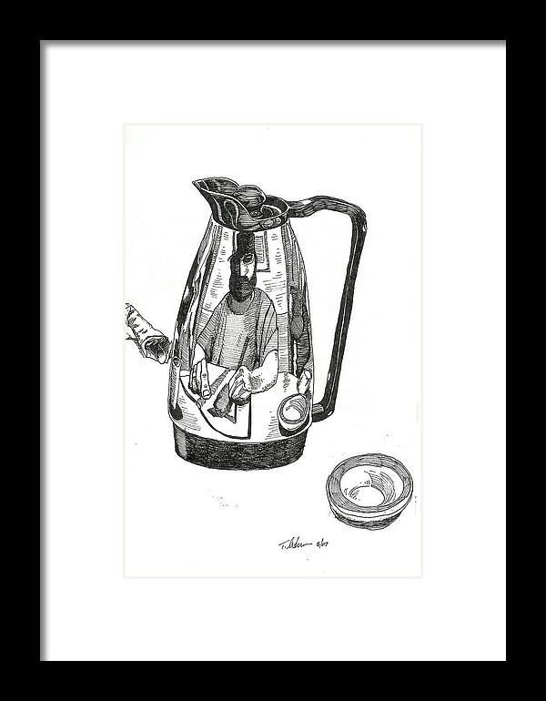 Pen And Ink Framed Print featuring the drawing Coffee Pot by Tobey Anderson