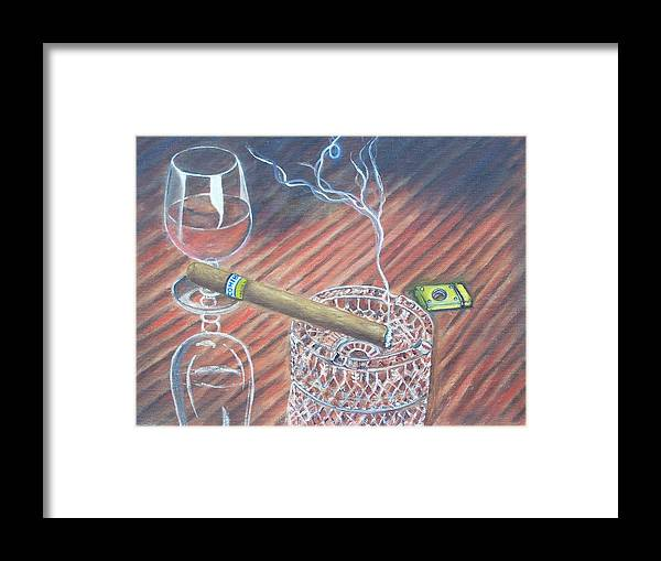 Cigars Framed Print featuring the painting Cohiba And Wine by Charles Vaughn