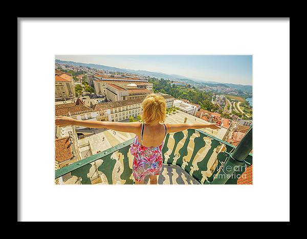 Coimbra Framed Print featuring the photograph Coimbra Aerial Woman by Benny Marty