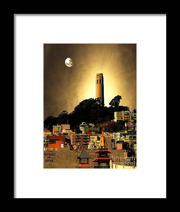 San Francisco Coit Tower Framed Print featuring the photograph Coit Tower And The Empress Of China Under The Golden Moonlight by Wingsdomain Art and Photography