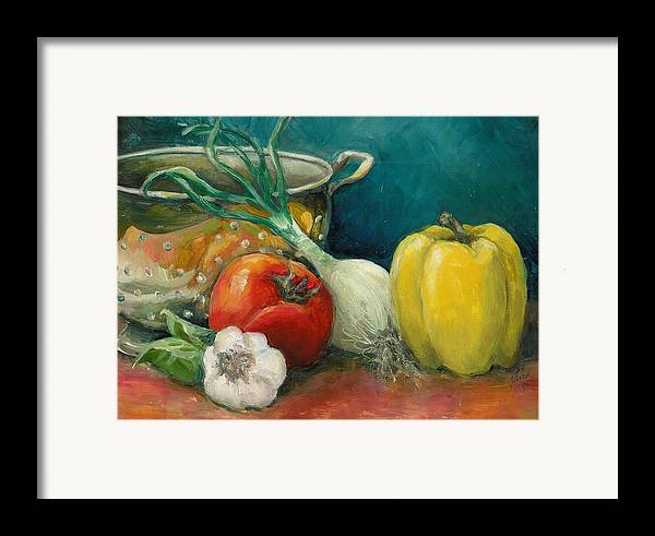 Still Life Framed Print featuring the painting Colander Art by Linda Vespasian