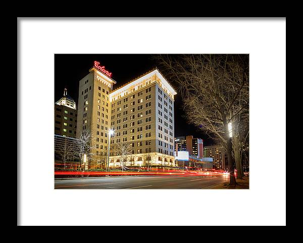 Okc Framed Print featuring the photograph Colcord At Night by Ricky Barnard