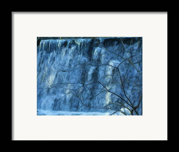 Framed Print featuring the painting Cold Day Cold Water Fall  Winter In Ny by Jonathan Galente