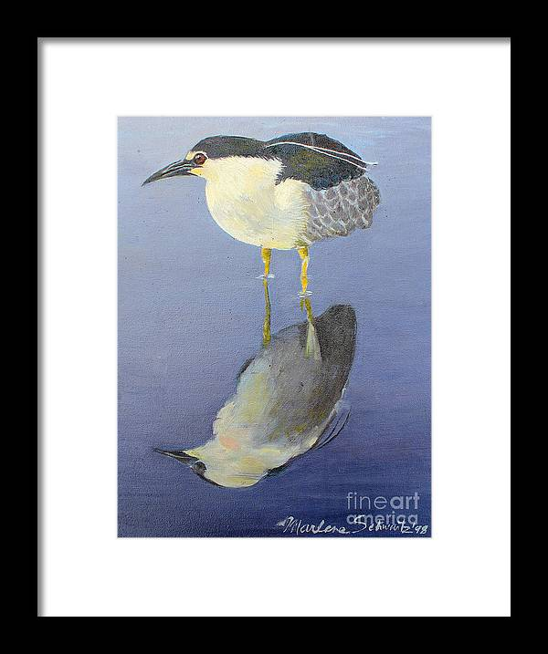Heron Framed Print featuring the painting Cold Feet by Marlene Schwartz Massey